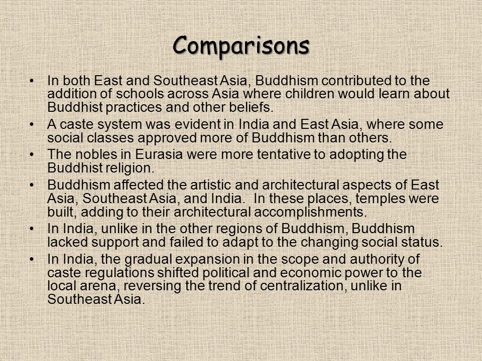 Comparisons In both East and Southeast Asia, Buddhism contributed to the addition of schools across Asia where children would learn about Buddhist practices and other beliefs.