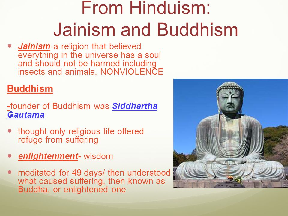 From Hinduism: Jainism and Buddhism Jainism-a religion that believed everything in the universe has a soul and should not be harmed including insects
