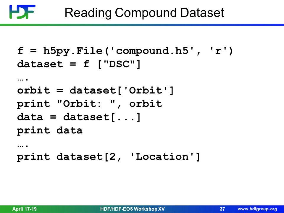 Reading Compound Dataset April 17-1937 f = h5py.File('compound.h5', 'r') dataset = f [