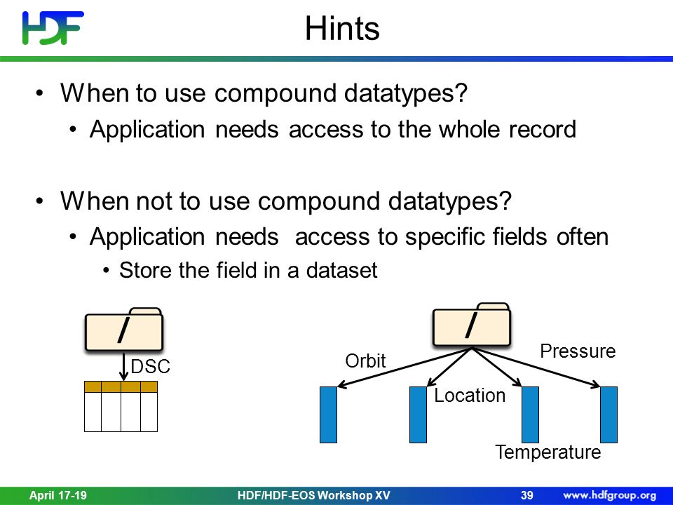 Hints When to use compound datatypes.