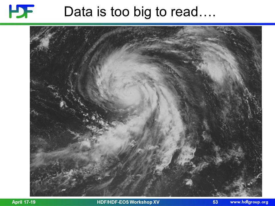 Data is too big to read…. April 17-1953HDF/HDF-EOS Workshop XV