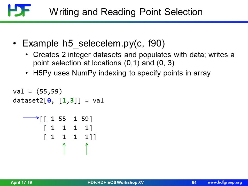 April 17-19HDF/HDF-EOS Workshop XV64 Writing and Reading Point Selection Example h5_selecelem.py(c, f90) Creates 2 integer datasets and populates with data; writes a point selection at locations (0,1) and (0, 3) H5Py uses NumPy indexing to specify points in array val = (55,59) dataset2[0, [1,3]] = val [[ 1 55 1 59] [ 1 1 1 1] [ 1 1 1 1]]