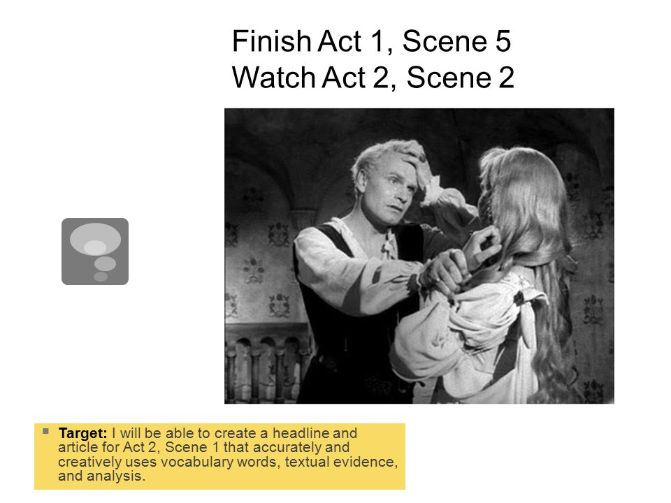 Exit Task: HEADLINE. Create a headline and article for Act 2, scene 1.