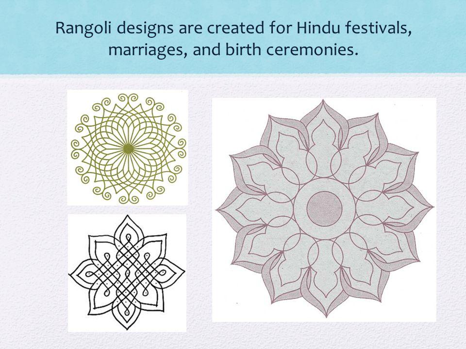 During Diwali people make rangoli designs punctuated with oil lamps. (diyas)