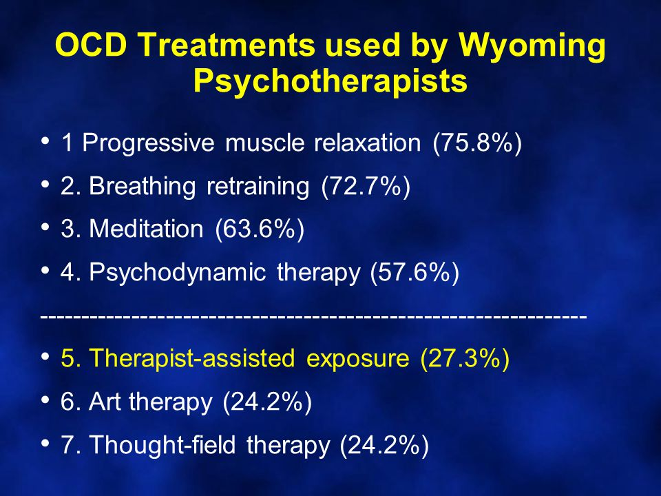 OCD Treatments used by Wyoming Psychotherapists 1 Progressive muscle relaxation (75.8%) 2.