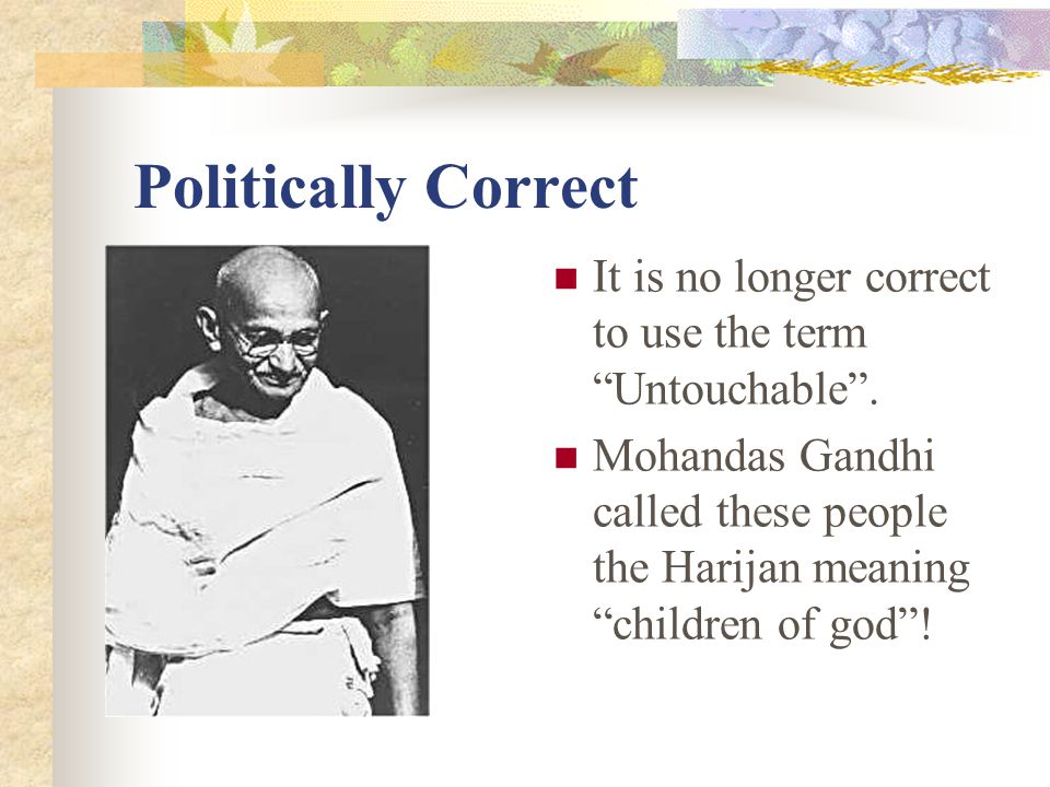 Politically Correct It is no longer correct to use the term Untouchable .