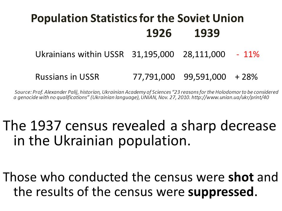 Population Statistics for the Soviet Union 1926 1939 Ukrainians within USSR 31,195,000 28,111,000 - 11% Russians in USSR 77,791,000 99,591,000 + 28% S
