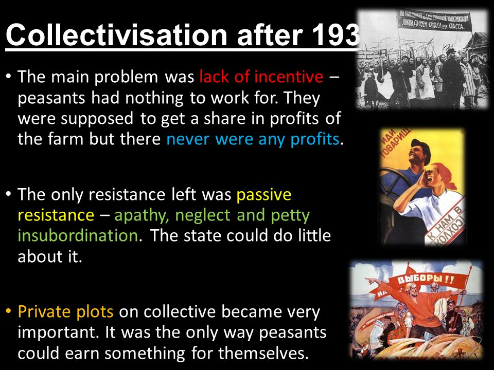 Collectivisation after 1934 The main problem was lack of incentive – peasants had nothing to work for.