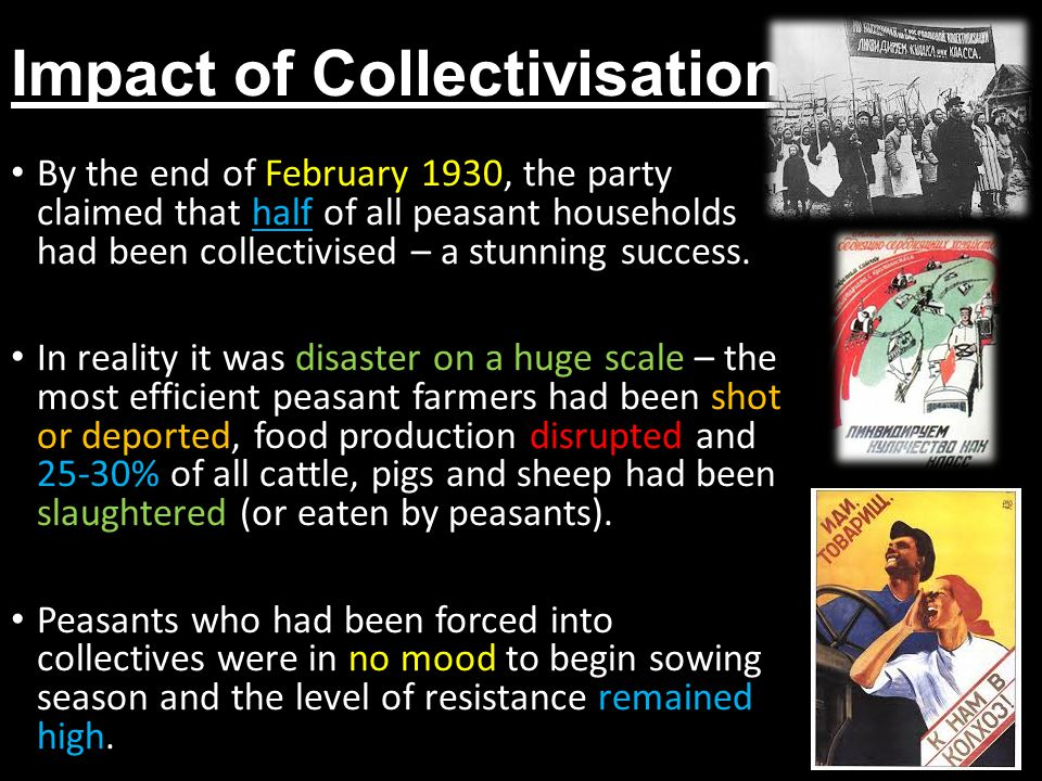 Impact of Collectivisation By the end of February 1930, the party claimed that half of all peasant households had been collectivised – a stunning success.