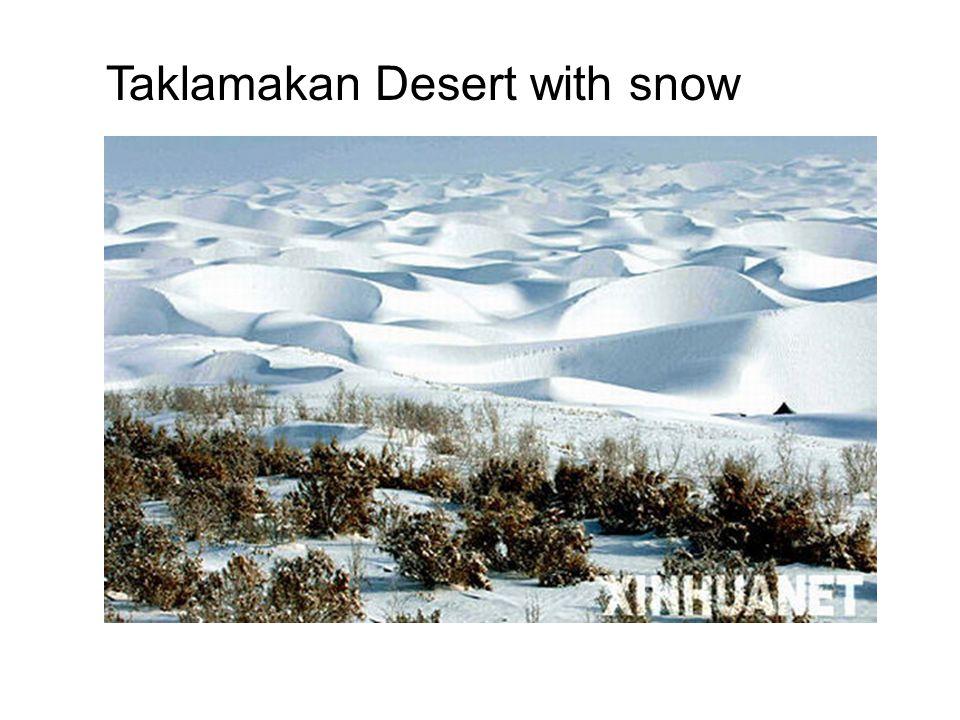 Taklamakan Desert with snow