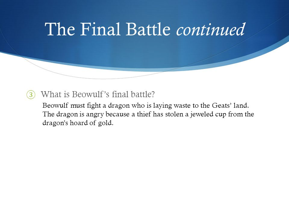 The Final Battle continued ⑤ Why are the odds against him.