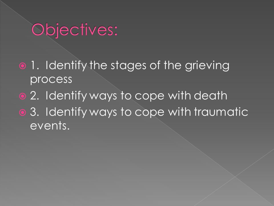  1. Identify the stages of the grieving process  2. Identify ways to cope with death  3. Identify ways to cope with traumatic events.