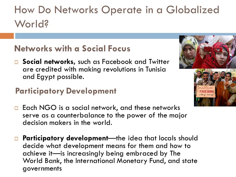 Networks with a Social Focus  Social networks, such as Facebook and Twitter are credited with making revolutions in Tunisia and Egypt possible.