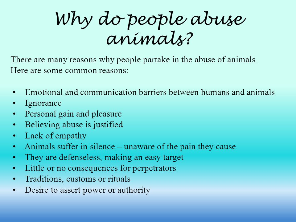 Why do people abuse animals. There are many reasons why people partake in the abuse of animals.