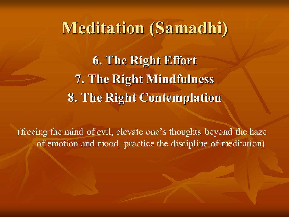 Meditation (Samadhi) 6. The Right Effort 7. The Right Mindfulness 8.