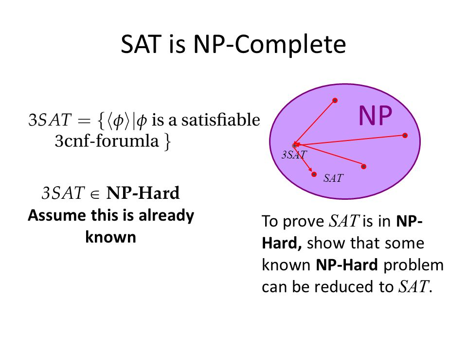 SAT is NP-Complete To prove SAT is in NP- Hard, show that some known NP-Hard problem can be reduced to SAT.