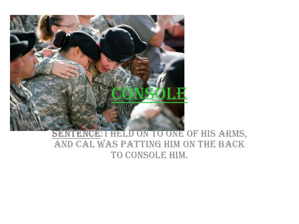 Console Sentence: I held on to one of his arms, and Cal was patting him on the back to console him.