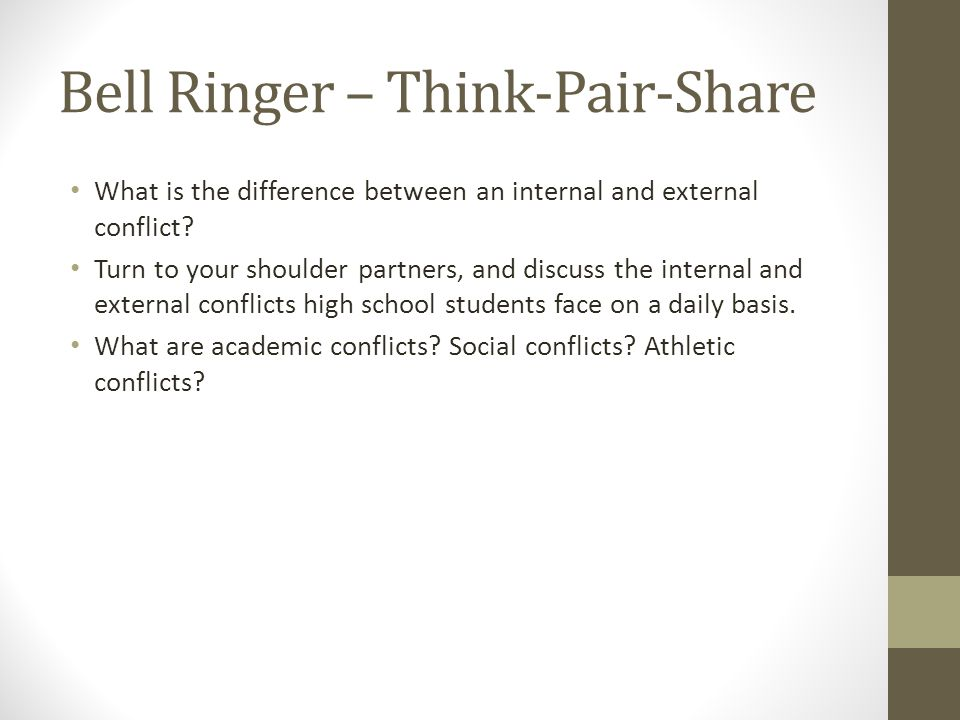 Bell Ringer – Think-Pair-Share What is the difference between an internal and external conflict.
