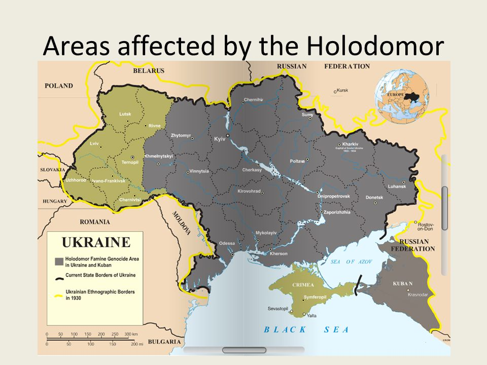 Areas affected by the Holodomor