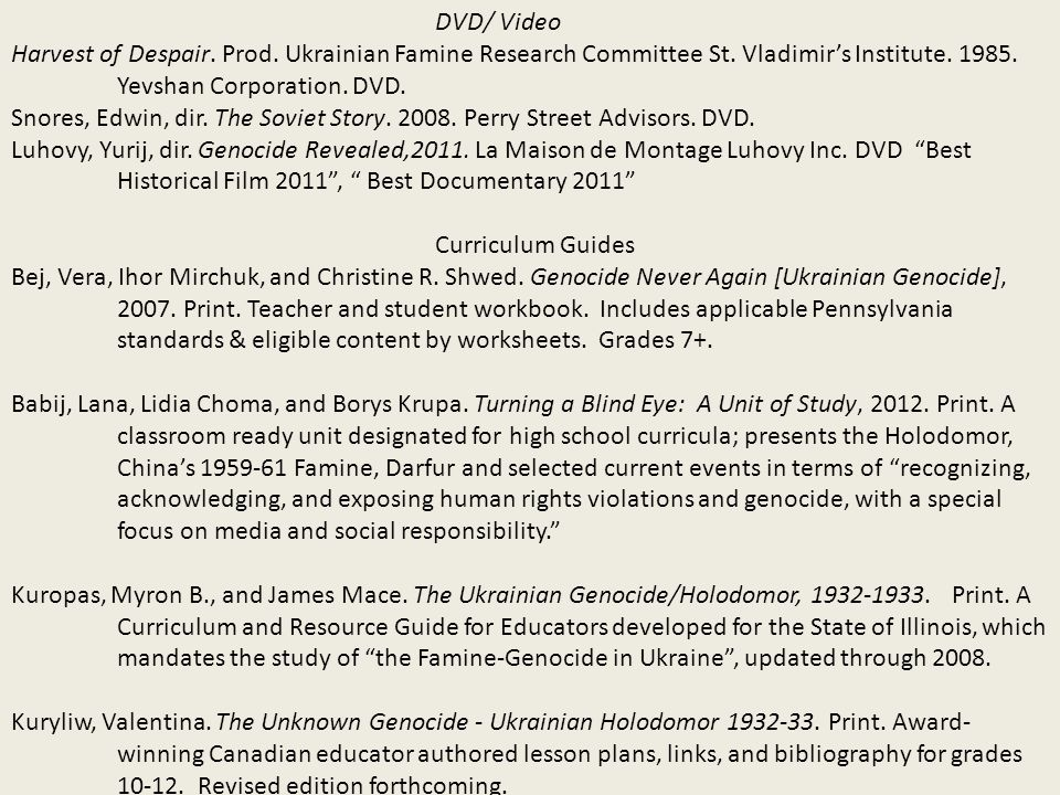 DVD/ Video Harvest of Despair. Prod. Ukrainian Famine Research Committee St.