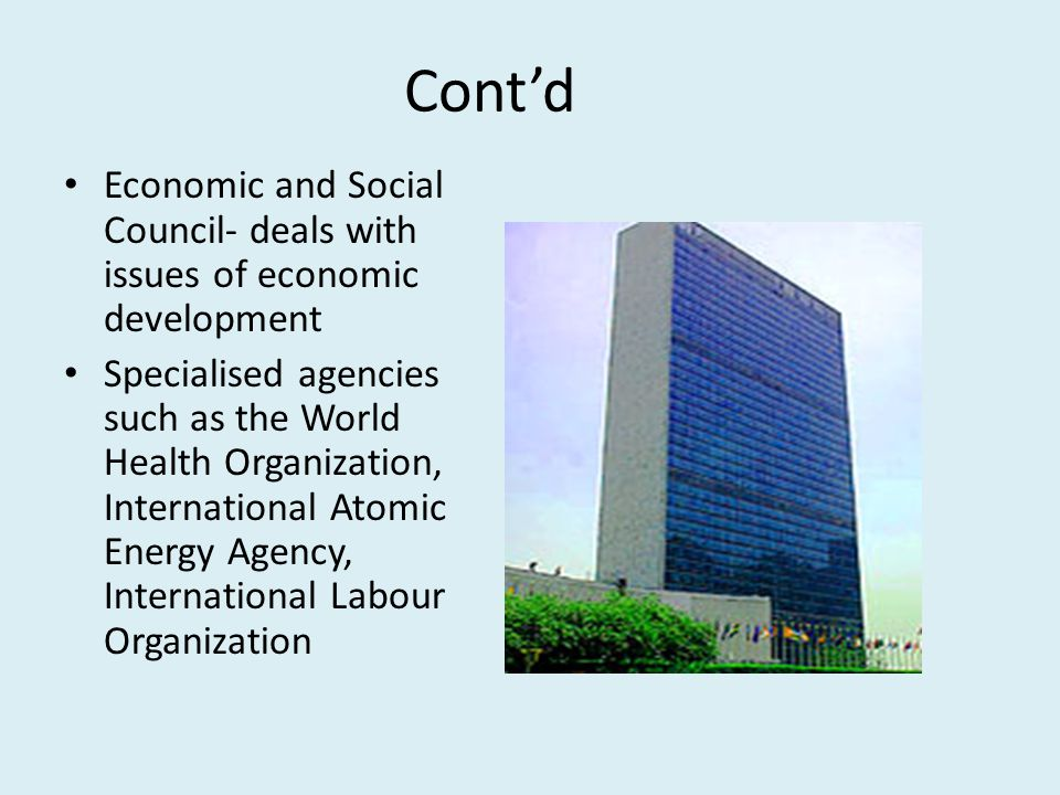 Cont'd Economic and Social Council- deals with issues of economic development Specialised agencies such as the World Health Organization, International Atomic Energy Agency, International Labour Organization