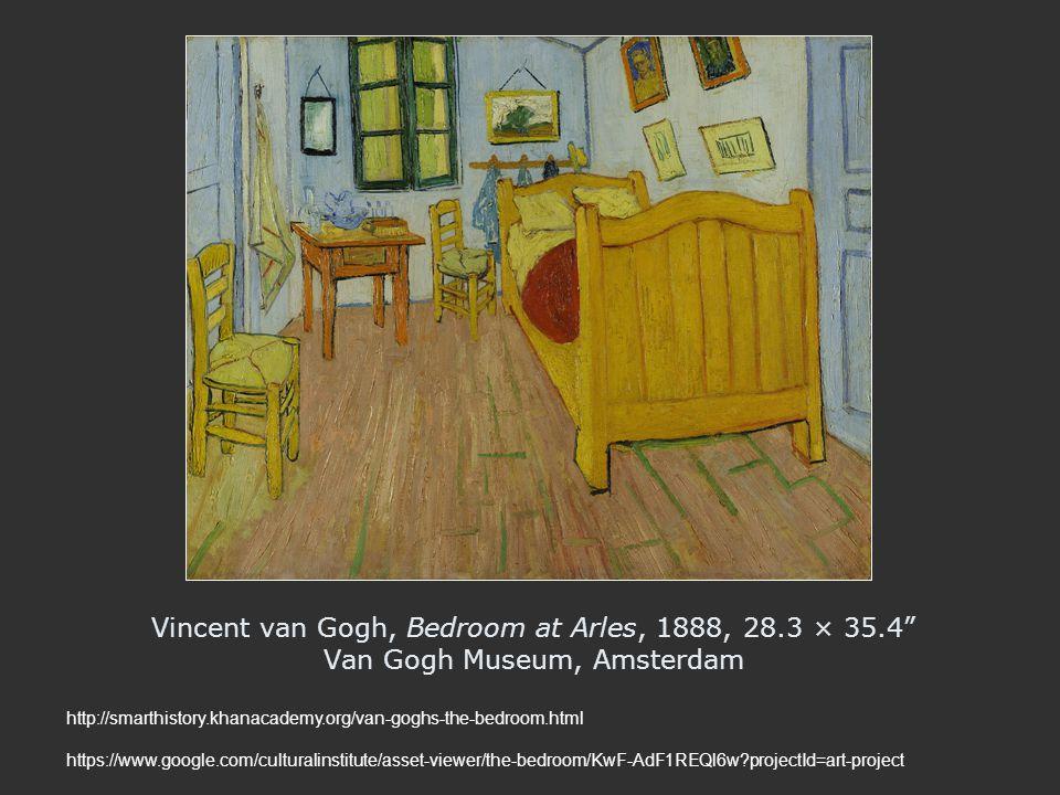 "Vincent van Gogh, Bedroom at Arles, 1888, 28.3 × 35.4"" Van Gogh Museum, Amsterdam http://smarthistory.khanacademy.org/van-goghs-the-bedroom.html https"
