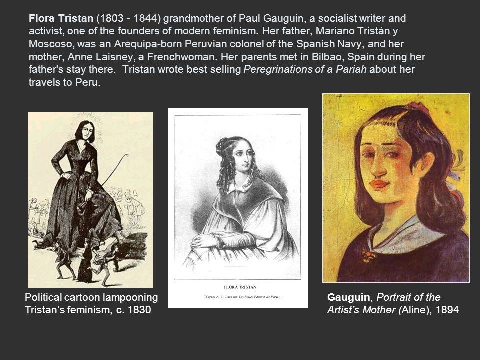 Flora Tristan (1803 - 1844) grandmother of Paul Gauguin, a socialist writer and activist, one of the founders of modern feminism. Her father, Mariano