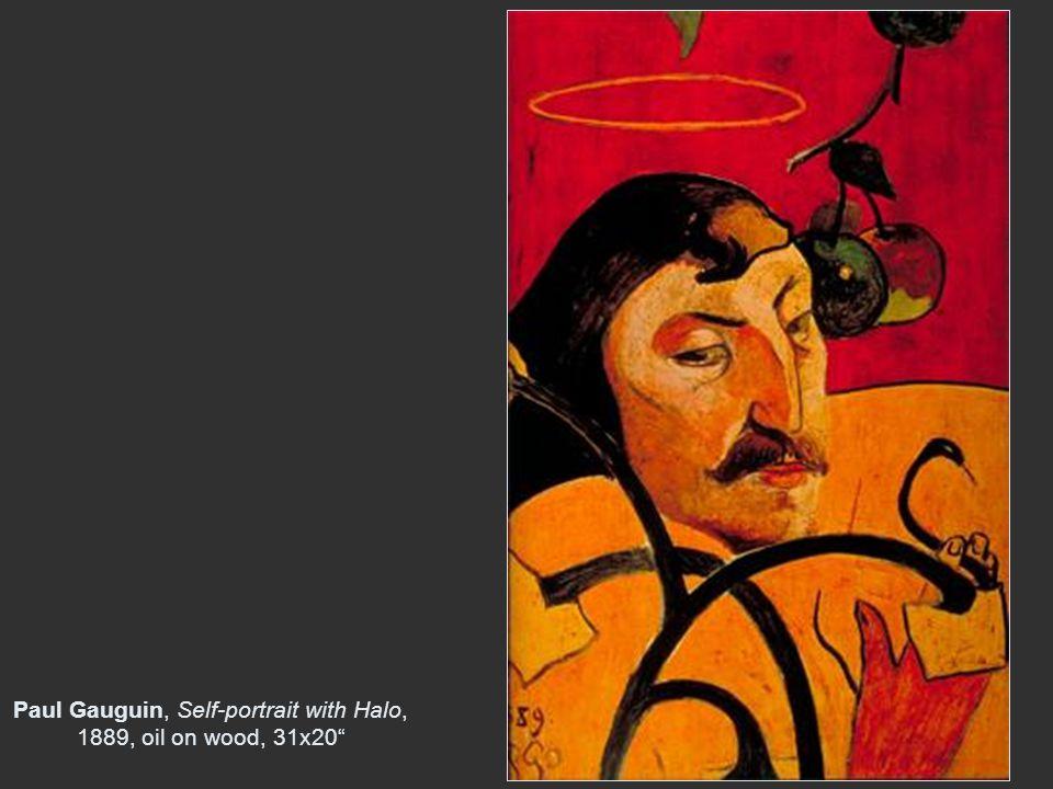 "Paul Gauguin, Self-portrait with Halo, 1889, oil on wood, 31x20"""
