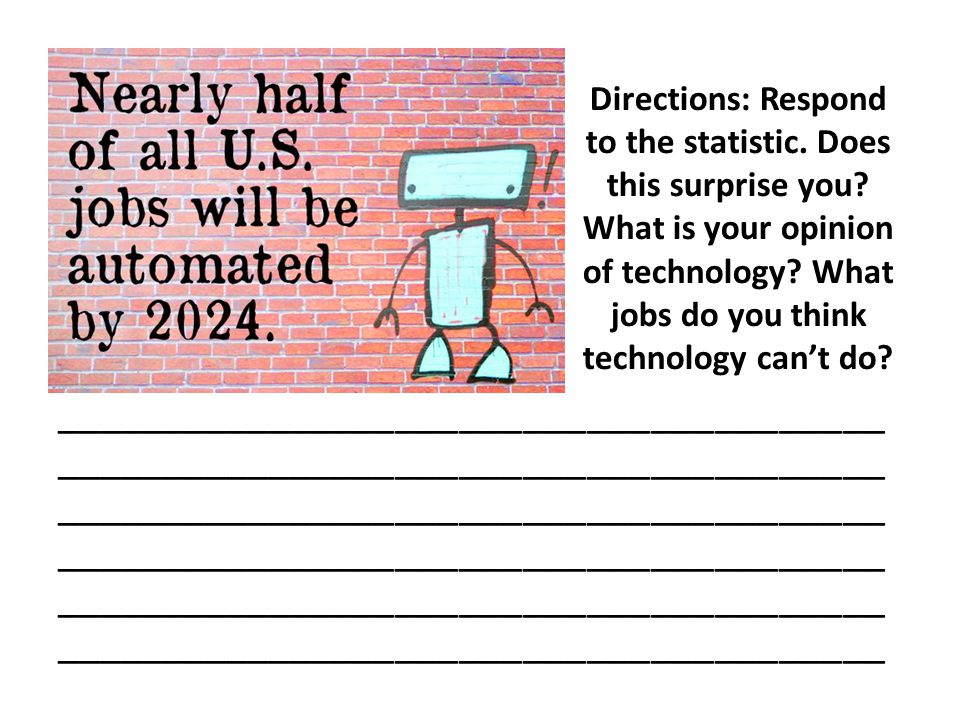 Directions: Respond to the statistic. Does this surprise you? What is your opinion of technology? What jobs do you think technology can't do? ________