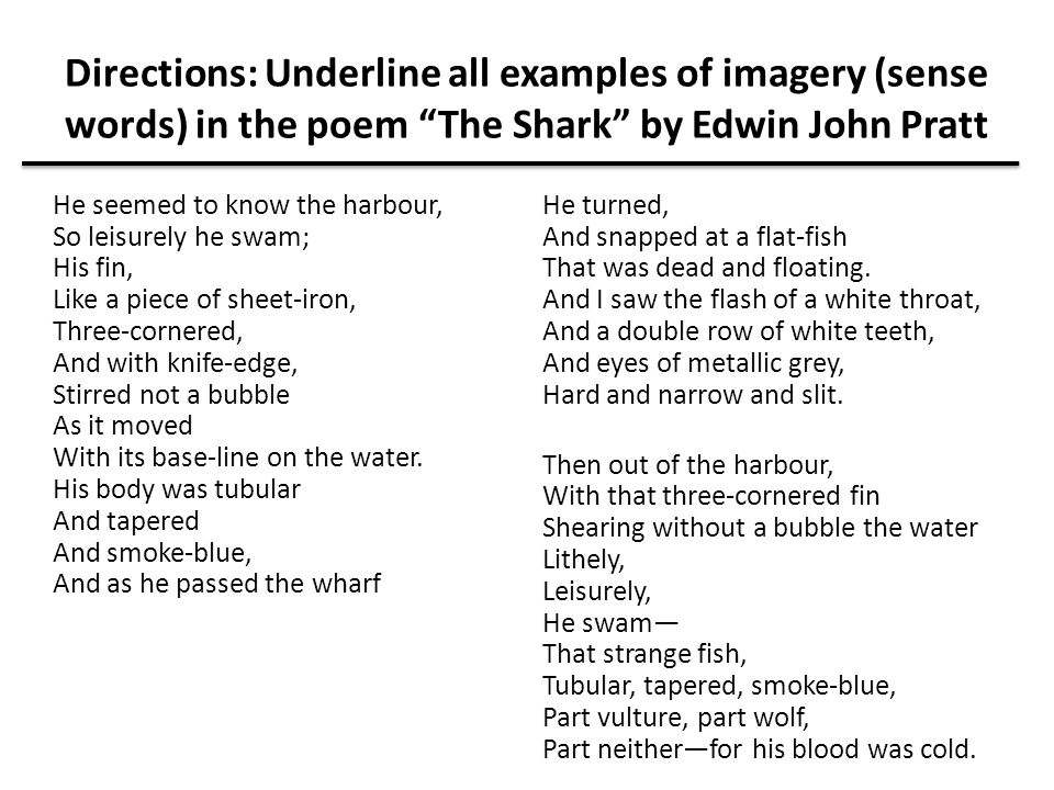 """Directions: Underline all examples of imagery (sense words) in the poem """"The Shark"""" by Edwin John Pratt He seemed to know the harbour, So leisurely he"""