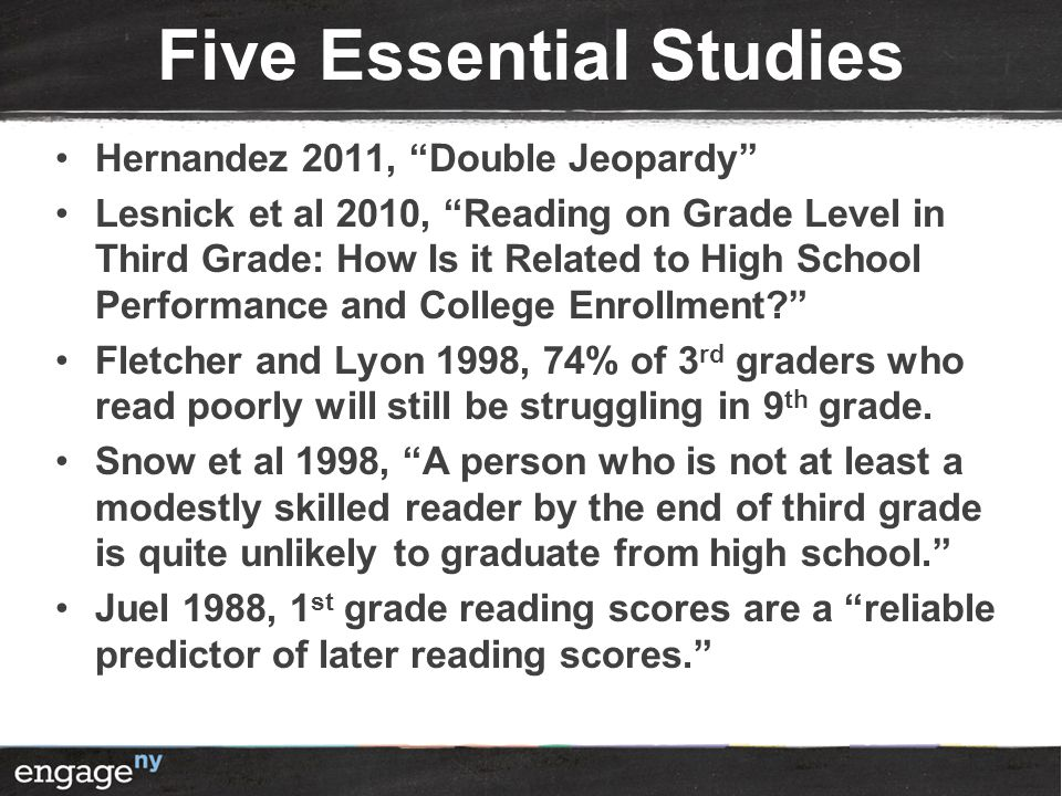 "Five Essential Studies Hernandez 2011, ""Double Jeopardy"" Lesnick et al 2010, ""Reading on Grade Level in Third Grade: How Is it Related to High School"