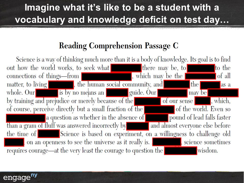 Imagine what it's like to be a student with a vocabulary and knowledge deficit on test day…