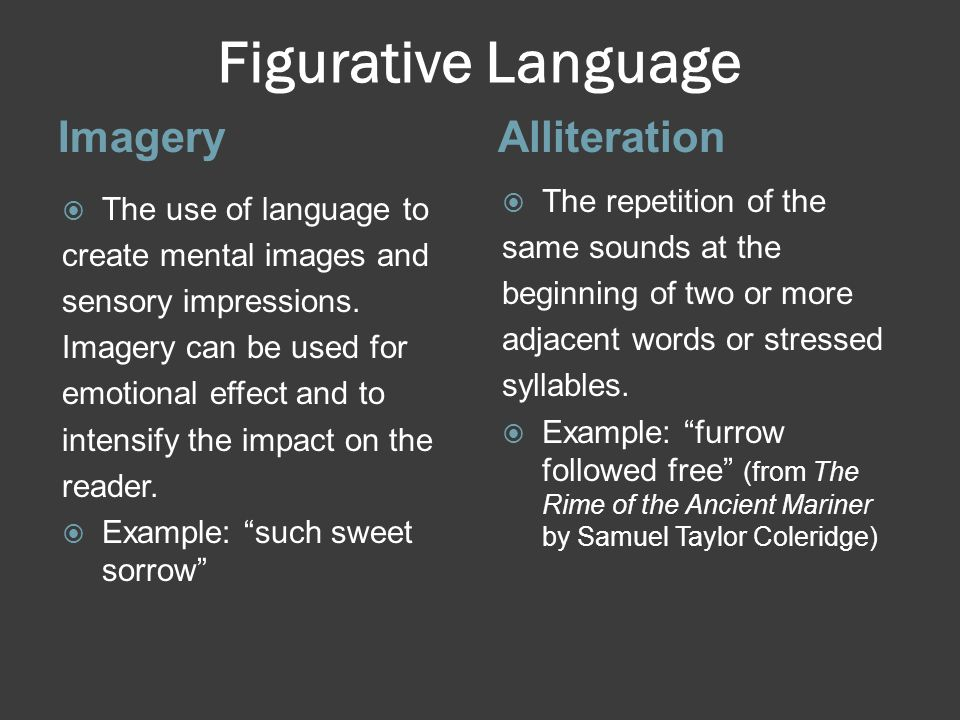 Figurative Language ImageryAlliteration  The use of language to create mental images and sensory impressions.