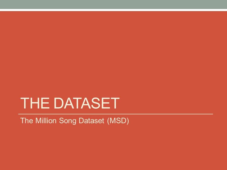 THE DATASET The Million Song Dataset (MSD)