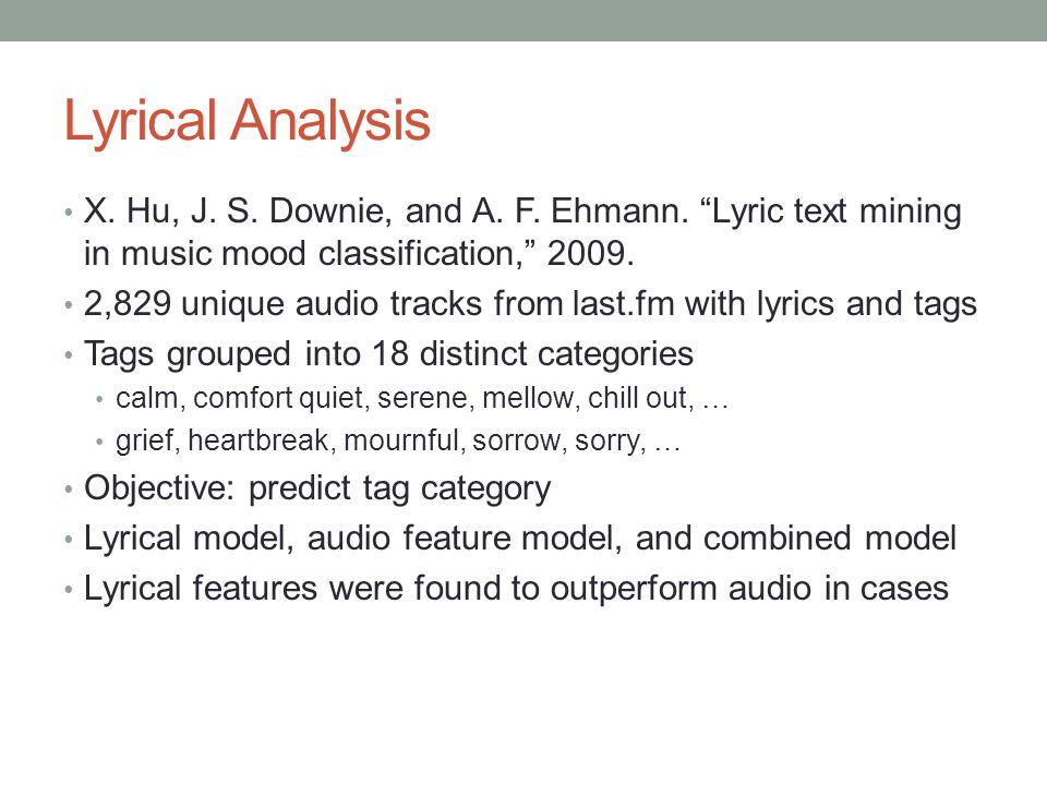 Lyrical Analysis X. Hu, J. S. Downie, and A. F.
