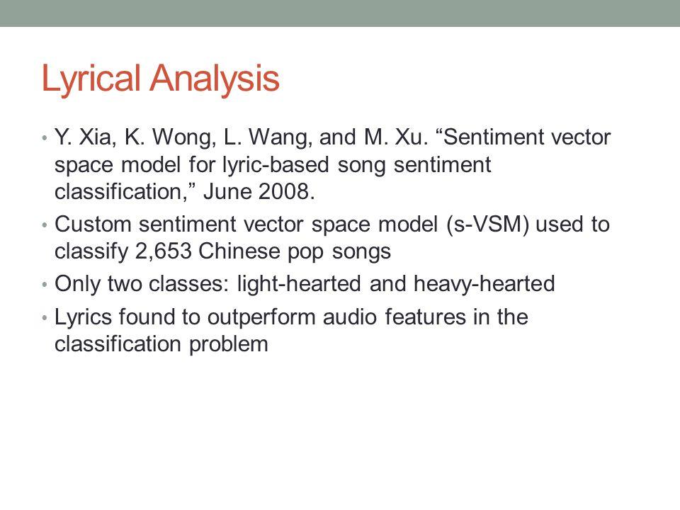 Lyrical Analysis Y. Xia, K. Wong, L. Wang, and M.