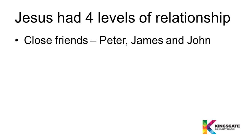 Jesus had 4 levels of relationship Close friends – Peter, James and John The 12 disciples