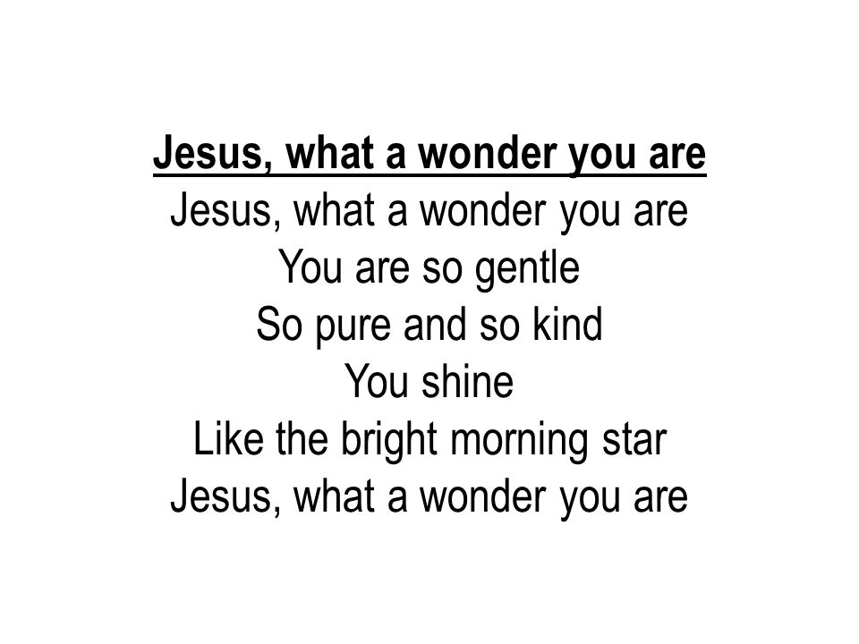 Jesus, what a wonder you are You are so gentle So pure and so kind You shine Like the bright morning star Jesus, what a wonder you are