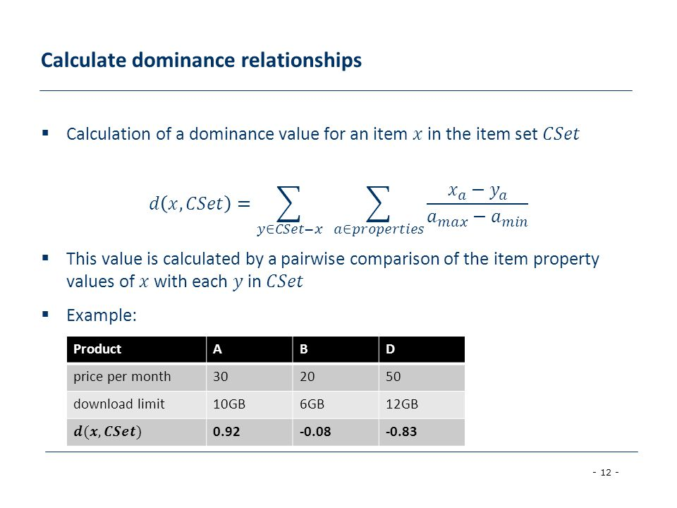 - 12 - Calculate dominance relationships ProductABD price per month302050 download limit10GB6GB12GB 0.92-0.08-0.83