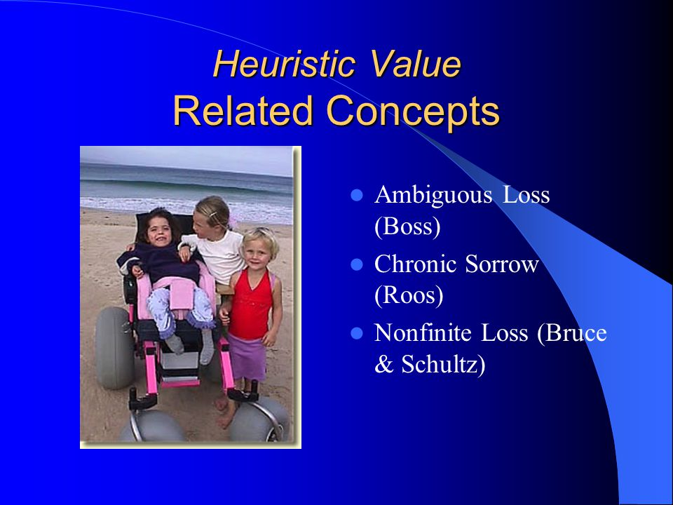 Heuristic Value Related Concepts Ambiguous Loss (Boss) Chronic Sorrow (Roos) Nonfinite Loss (Bruce & Schultz)