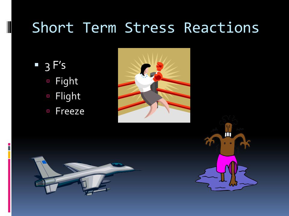 Short Term Stress Reactions  3 F's  Fight  Flight  Freeze