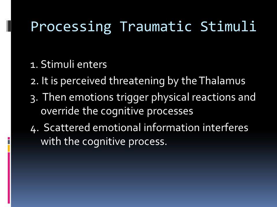 Processing Traumatic Stimuli 1.Stimuli enters 2. It is perceived threatening by the Thalamus 3.
