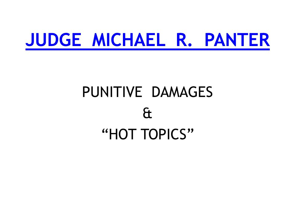 JUDGE MICHAEL R. PANTER PUNITIVE DAMAGES & HOT TOPICS