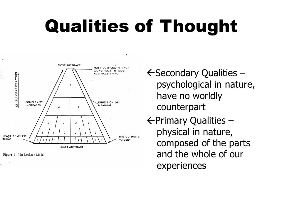 Qualities of Thought  Secondary Qualities – psychological in nature, have no worldly counterpart  Primary Qualities – physical in nature, composed of the parts and the whole of our experiences