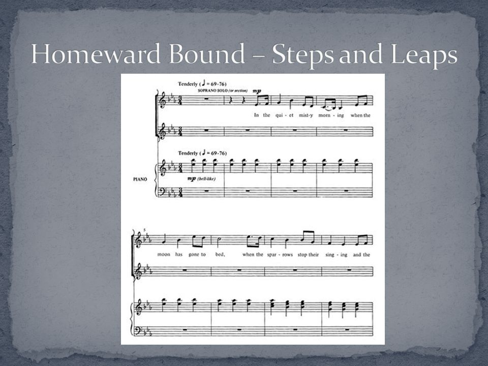 Is it an accessible and interesting melodic line? Primarily steps or leaps? How are awkward intervals approached? Homeward Bound – Marta Keen, arr. Ja