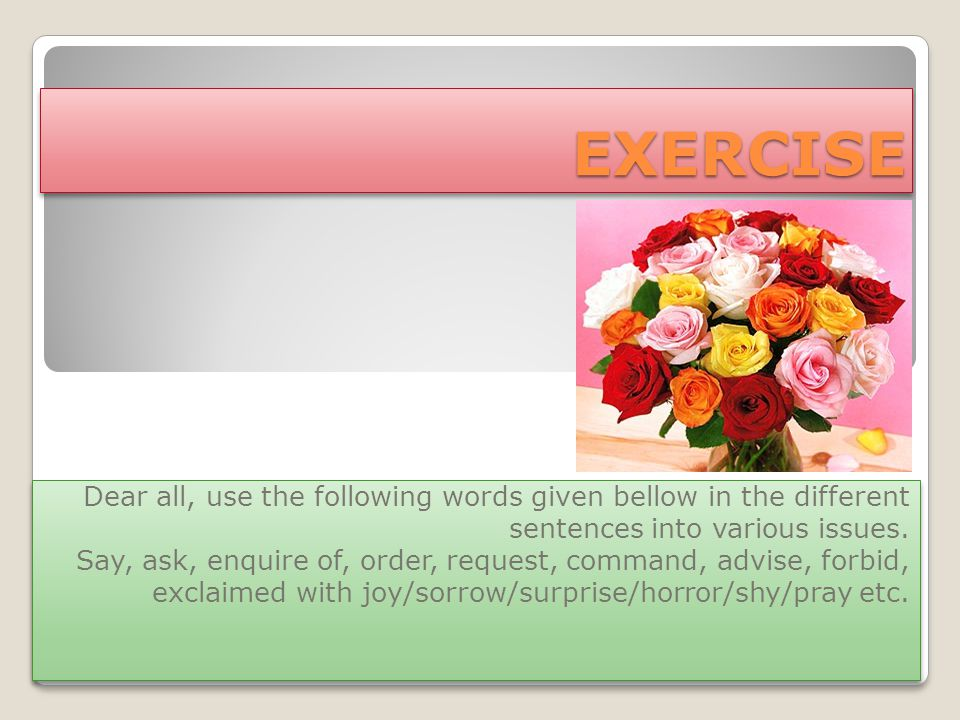 EXERCISEEXERCISE Dear all, use the following words given bellow in the different sentences into various issues.