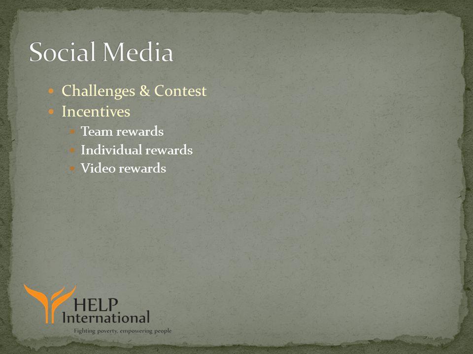 Challenges & Contest Incentives Team rewards Individual rewards Video rewards