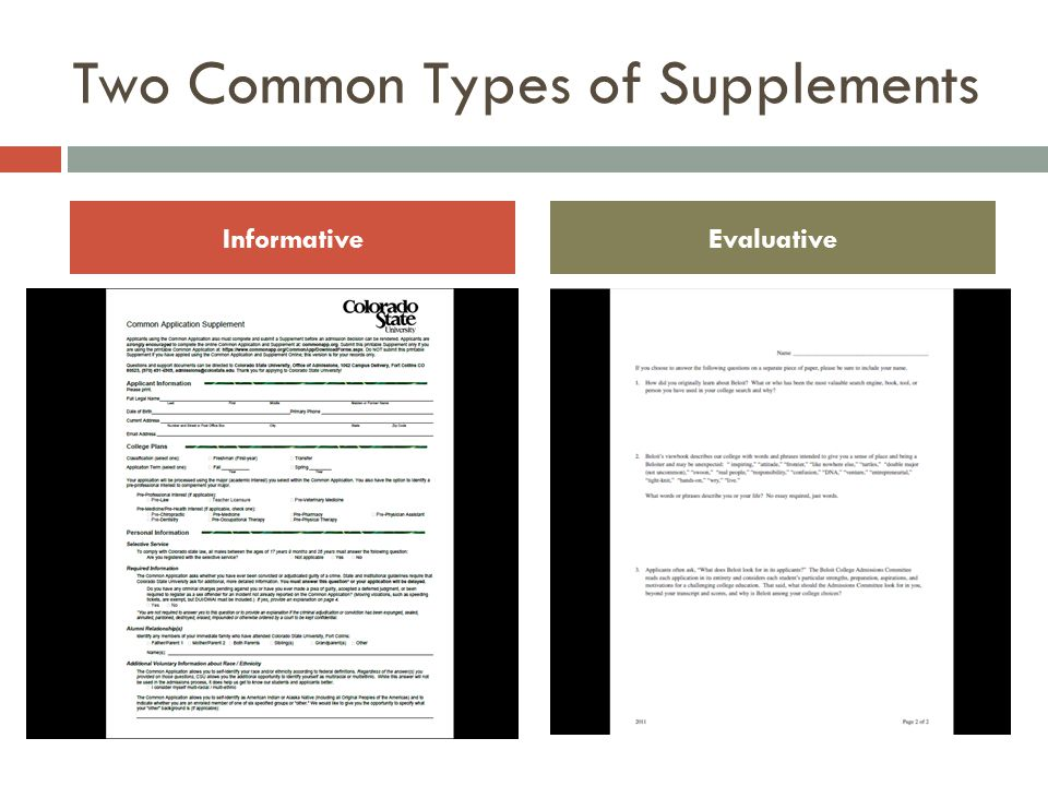 Two Common Types of Supplements InformativeEvaluative