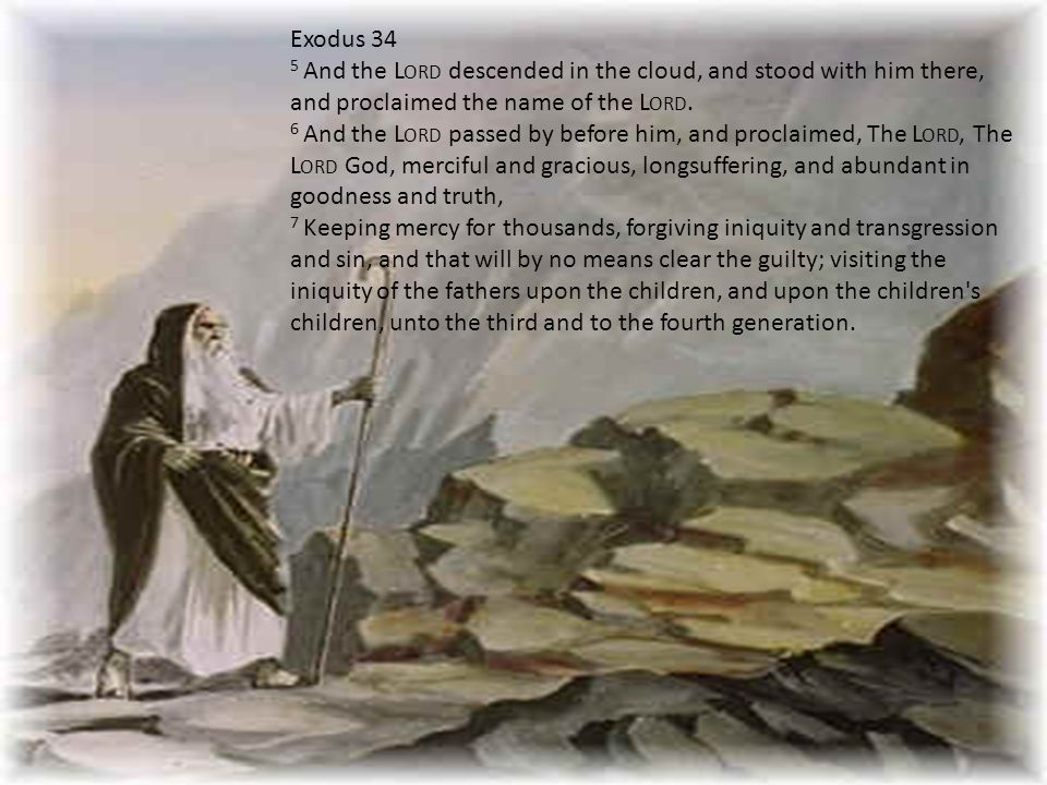 Exodus 34 5 And the L ORD descended in the cloud, and stood with him there, and proclaimed the name of the L ORD.