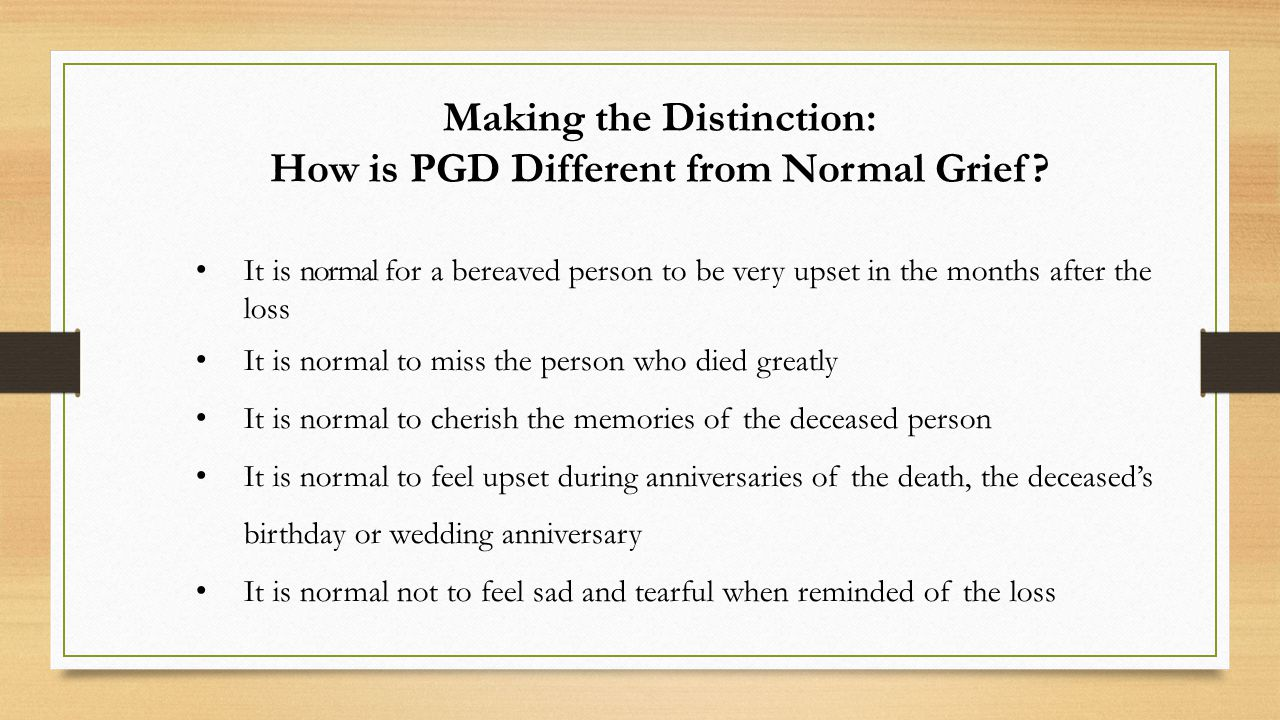 Making the Distinction: How is PGD Different from Normal Grief.